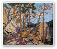 Pine Cleft Rock by Tom Thomson, associated with Group of 7 Group Of Seven Artists, Group Of Seven Paintings, Canadian Painters, Canadian Artists, Abstract Landscape, Landscape Paintings, Emily Carr Paintings, Tom Thomson Paintings, Shabby Chic Art