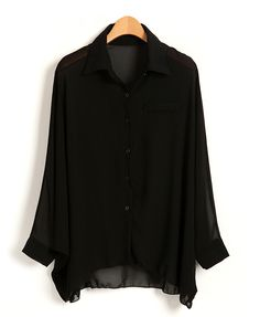 Batwing Sleeves Chiffon Blouse with Dipped Hem
