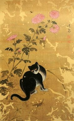 Chuil hanmyo (Free cat on an autumn day), by 정선 Jeong Seon (1676–1759), during the Korean Joseon Dynasty.