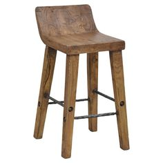 Crafted from warmly textured elm, this counter stool features twisted metal stretchers and a curved seat.  Product: Counter stoo...