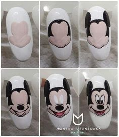 Trendy Nails Design For Kids Mickey Mouse Mickey Mouse Nail Art, Mickey Nails, Minnie Mouse Nails, Trendy Nail Art, Cool Nail Art, Nail Drawing, Wie Macht Man, Super Nails, Nail Swag