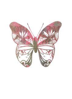 Mixed Media Illustration Gelliplate Butterfly