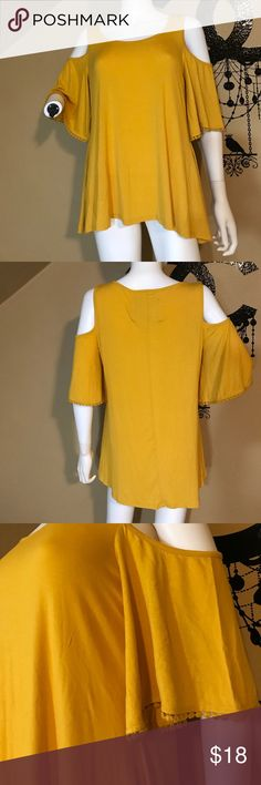 Cupio mustard yellow cold shoulder top Gorgeous piece with beautiful detailing! Brand new & flaw free. Super soft to the touch & the color is great for fall. Chest across 18 inches. Bundling is fun; check out my other items! Home is smoke free/ cat friendly. No price talk in comments. No trades or holds. NO SPAM. A606 cupio Tops Blouses