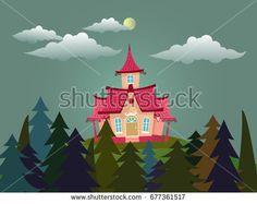 vector illustration of mystery pink house in forest. House Vector, Forest House, Pink Houses, Funny Cartoons, Home Art, Mystery, Royalty Free Stock Photos, Character Design, Artsy
