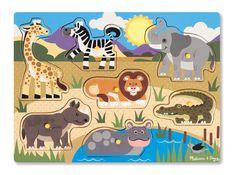 Melissa & Doug Safari Wooden Peg Puzzle Pieces) in Pegged Puzzles. Wooden Pegs, Wooden Puzzles, M Craft, Popular Kids Toys, Puzzles For Toddlers, Puzzle Books, Melissa & Doug, Safari Animals, Wild Animals