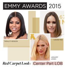 """""""Emmy Awards Beauty Trend: Center Part LOB"""" by polyvore-editorial ❤ liked on Polyvore featuring RedCarpet, Emmys and lob"""