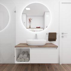 Elegantní koupelna CASTAGNO WHITE | Elegant bathroom CASTAGNO WHITE #bathroom #bath #design #bathroominspiration #koupelna #wood #woodwall #drevo #round #mirror #zrcadlo #perfectodesign O Design, Bath Design, Toulouse, Bathroom Inspiration, Wood Wall, Tiny House, Mirror, Bathroom Bath, White Bathroom