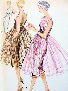 1950s McCalls 4747 Vintage Sewing Pattern Evening Cocktail Party Dress Empire Sheath With/ Without Overskirt