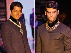 We spotted pearls too. Opening the show for Anmol Jewellers were male models in black sherwanis and bundgala jackets wearing an assortment of gold and pearl strands, emerald chains with ruby drops and magnificent giant ruby necklaces.