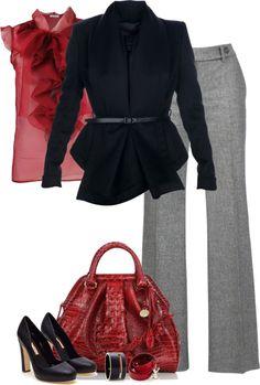 18# Red blouse + Black jacket + Grey pants + Red handbag + Black shoes