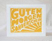 7x5 Guten Morgen Sonnenschein German Good Morning Sunshine Typography Kitchen Art Print  Baby Nursery Decor. $15.00, via Etsy.