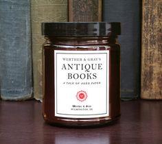 LIVRES ANCIENS, bougie littéraire, livre parfumée bougie, ancienne bibliothèque bougie, papier cuir vanille, mélange la cire de soja, des cadeaux pour l'écrivain, Vintage
