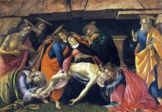 """Sandro Botticcelli """"Lamentación de Cristo"""". La obra de este artista resume y refleja el refinamiento pagano de la corte de los Médicis."""