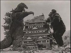 """Godzilla squares off with King Kong in """"King Kong vs Godzilla"""" 1962 King Kong Vs Godzilla, Giant Monster Movies, Japanese Monster, Cool Monsters, Famous Monsters, Fantasy Monster, Monster Art, Batman And Superman, Horror Films"""