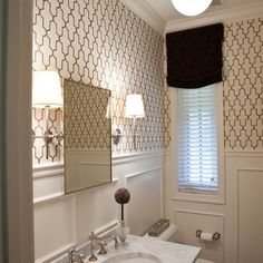 combo of the lighting, ideas for powder room and hall bath; Traditional Powder Room Design, Pictures, Remodel, Decor and Ideas Small Bathroom Inspiration, Powder Room Small, Small Bathroom Wallpaper, Bathroom Inspiration, Bathroom Decor, Bathrooms Remodel, Powder Room Design, Home Decor, Room Design