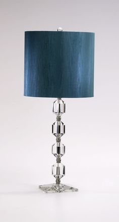 Beautiful glass lamp with a blue shade