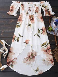 Off Shoulder Ruffle Asymmetric Floral Dress WHITE: Print Dresses | ZAFUL