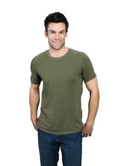 Army Green ONNO bamboo and organic cotton t-shirt for men. This is such an earthy green that you may become more down-to-earth when you wear it. Also available in hemp.
