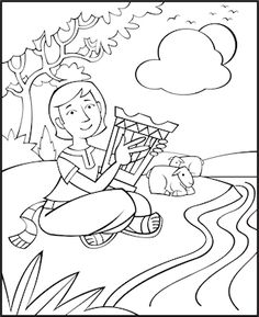 David The Good Shepherd Coloring Page