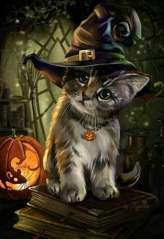 ▷ 1001 + ideas for Halloween pictures to match the mood- ▷ 1001 + Ideen für Halloween Bilder zur passenden Stimmung a little cat with a witch hat, a little mouse in the pumpkin carved halloween background - Halloween Mono, Photo Halloween, Spooky Halloween, Anime Halloween, Halloween 2018, Halloween Costumes, Cute Animal Drawings, Cute Drawings, Cute Halloween Drawings
