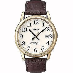 Timex Easy Reader Men's Analog Watch & Brown Leather Strap Classic New Timex Indiglo, Easy Reader, Quartz Watch, Brown Leather, Watches, Classic, Gold, Accessories, Derby