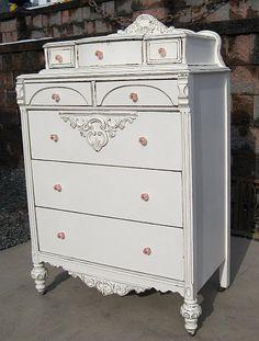 Shabby White CHIC Interior Design Cottage Highchest Dresser Vanity