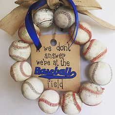 New York Yankees Baseball Wreath Made With Real Leather Baseballs Softball Wreath, Baseball Wreaths, Painted Wooden Signs, Wooden Tags, Coach Gifts, Team Gifts, Burlap Bows, Burlap Wreath, Baseball Party Supplies