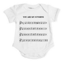 """Sheet Music Notes """"You Are My Sunshine"""" Baby Onesie (0-6 month / 6-12 month)"""