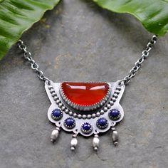 Carnelian Lapis Necklace, Metalwork Pendant, Oxidised, Sterling Silver Gemstone Necklace