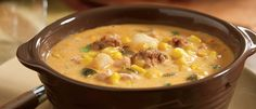 Slow Cooker Poblano Corn Chowder with Chicken and Chorizo- with only half the amount of heavy whipping cream to stay on the healthier side :)