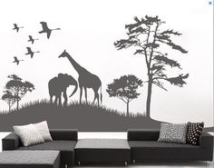 African Savanna and Animal Jungle Wall by LittleSquirrelDecors, $48.00