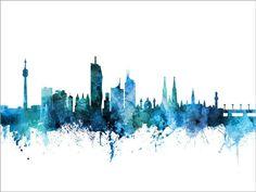 Digital Art - Hannover Germany Skyline by Michael Tompsett , Cityscape Art, Skyline Art, Framed Prints Uk, Poster Prints, Amsterdam Skyline, Kunst Poster, Color Depth, Vienna Austria, Modern Art Prints