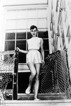 Audrey Hepburn vacationing in Malibu, 1956.