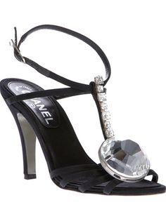 CHANEL VINTAGE - crystal t-bar sandal 6