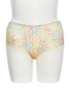 5356a49f42 Rainbow Plus Size Lace Trim Boyshort Panties With Colorful Sheer Leopard  Print