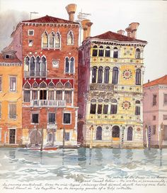 Fabrice Moireau: Watercolour from Venice Sketchbook/Engin Gunduz Istabul board Pen And Watercolor, Watercolor Paintings, Watercolors, Fabrice Moireau, Watercolor Architecture, Urban Sketchers, Illustration, City Art, Art Sketchbook