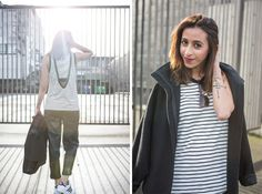 Black and white stripes, minimal outfit, casual street style, fashion blogger, winter style http://the-unprecedented.ca/blackandwhiteoutfit/