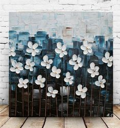Original Modern White Flowers Navy Impasto Abstract palette Knife Wall Art Painting. This listing is for a MADE TO ORDER ORIGINAL painting of a previously sold one, seen in the images above. Your painting will be the same size, and VERY SIMILAR composition/colors. Will take