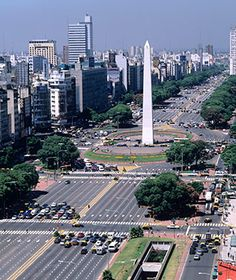 In Buenos Aires, at a normal walking speed, it takes pedestrians two to three green lights to cross 9 de Julio Avenue's 12 lanes of traffic and gardened medians. Construction of the world's widest street began in the 1930s and took nearly 50 years to complete