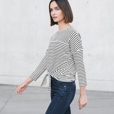 Lässiges Streifenshirt mit Schleife.  #opusfashion #fashion #shirt #white #black #stripes