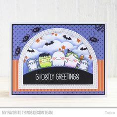Fab-BOO-lous Friends Stamp Set and Die-namics, Stitched Basic Edges Die-namics, Stitched Dome Frames Die-namics, Mini Cloud Edges Stencil - Torico #mftstamps