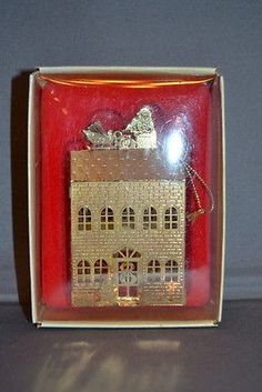 Russ Brass Treasures House with Santa on Roof Ornament Vintage