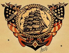 """If you don't know who Sailor Jerry is– you don't know tattoos. Norman """"Sailor Jerry"""" Collins is considered the foremost American tattoo artist of his time, and defined the craft in tw… Tattoo Old School, New School Tattoo Design, Sailor Jerry Flash, Naval Tattoos, Marine Tattoos, Mr Sandman, Desenhos Old School, Hawaiianisches Tattoo, Deep Tattoo"""