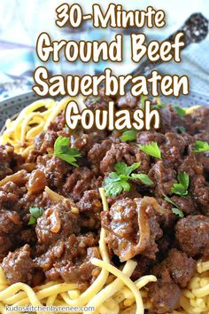 Here's an easy twist on a German classic. Ground Beef Sauerbraten Goulash has all the warm spicy flavor of traditional sauerbraten but with using ground beef it will be on the table in less than 30 minutes. You're welcome!!#groundbeefrecipe #germancuisine #goulash #sauerbraten #gingersnaps #eggnoodles #spaetzle #meatsauce #30minutemeal #easyfamilydinner #falldinner #oktoberfestrecipe #kudoskitchenrecipes Veal Recipes, Ground Beef Recipes, Seafood Recipes, Pasta Recipes, Chicken Recipes, Easy Family Dinners, Family Meals, Easy Meals, Brunch Recipes