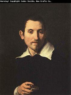 Domenichino (Italian: 1581-1641) self-portrait - original name was Domenico Zampieri but because of his small stature, was given the nickname Domenichino.  He was of the Bolognese or Carracci School of painters.
