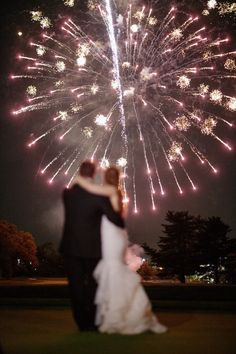 Photo: R Wagner Photography; Wedding reception fireworks idea;
