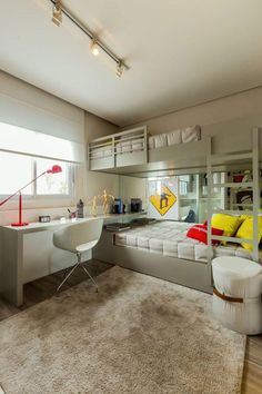 Ditch the traditional Bunk Beds for these 10 fresh ideas! Home Bedroom, Kids Bedroom, Bedroom Decor, Kids Rooms, Master Bedroom, Sibling Bedroom, Traditional Bunk Beds, Bunk Bed With Desk, Deco Studio