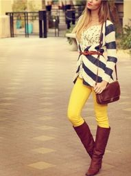 ♥♥♥love,love yellow jeans and the whole outfit