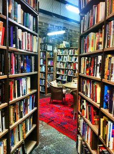 England Travel Inspiration - Barter Books in Alnwick, Northumberland. One of the biggest second-hand book shops in Britain! Free tea and coffee next to a roaring fire plus a cafe further inside that serves food. Yum. Used to be an old railway station.