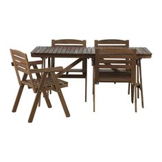 FALHOLMEN Table and 4 armchairs, outdoor, light brown stained gray-brown - IKEA Ikea Garden Furniture, Outdoor Dining Furniture, Outdoor Dining Set, Outdoor Tables, Furniture Sets, Dining Sets, Outdoor Ideas, Ikea Outdoor, Stained Table